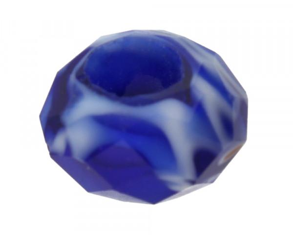 Großlochperle, innen 6mm, 14x7mm, blau, Millefiori Crystal