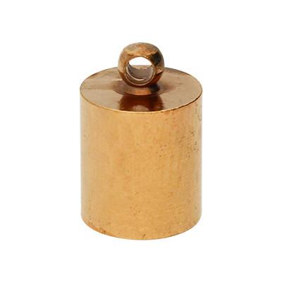 Endkappe mit Öse (2 Stück), 12x8mm, Loch-Ø 7,0mm, Metall, roségoldfarben