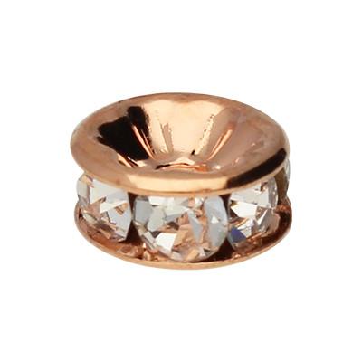 Straßperle, innen 1mm, 8x4mm, kristall, roségoldfarben, Metall