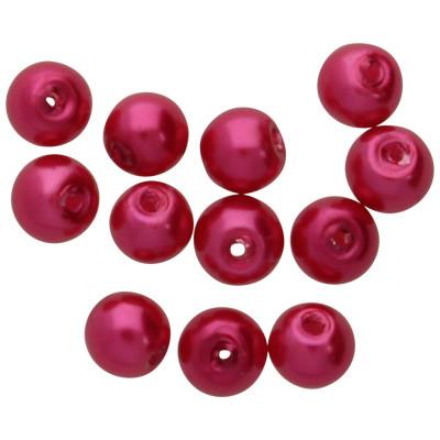 Kristallperle (10 Stück), innen 1mm, Ø 4mm, pink, Glas