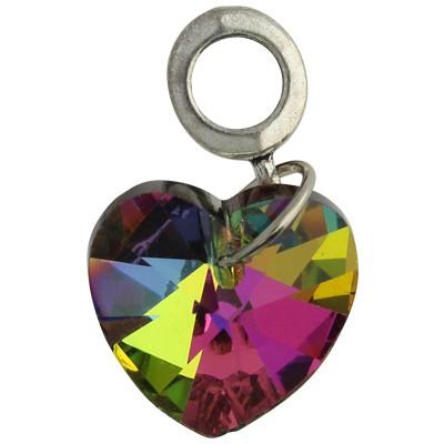 Anhänger mit Perle, innen 5mm, Herz 25mm, multicolor, Metall