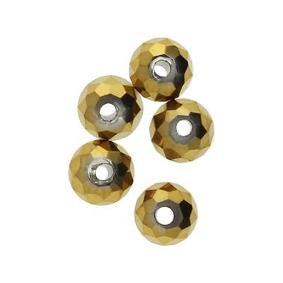 Glasperlen (5 Stück), innen 1mm, 4x3mm, faciert, goldfarben