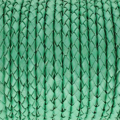 Lederband rund geflochten, 100cm, 6mm, METALLIC PASTELL MINZE
