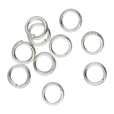 Bindering, rund, 10 Stück, 4mm, innen 2,5mm, Metall, silberfarben