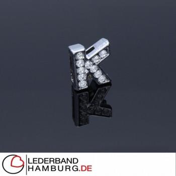 Slidercharm, Buchstabe K, 12x13x4, innen 8x2mm, silberfarben, Metall