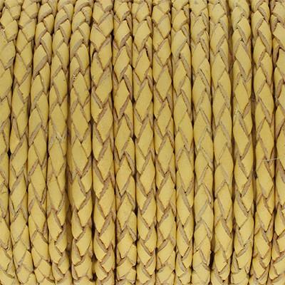 Lederband rund geflochten, 100cm, 3mm, VANILLE CREME