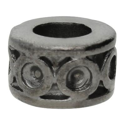 Großlochperle, innen 5mm, 10x6mm, schwarz, Metall