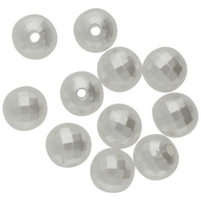 Perle (10 Stück), innen 1mm, 8mm, perlmuttfarben, Acryl