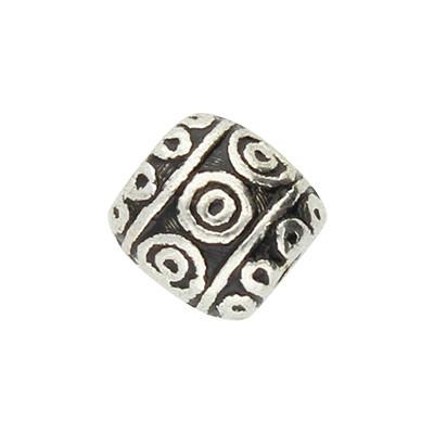 Perle, rund verziert, innen 2mm, Durchmesser 6mm, antiksilber, Metall