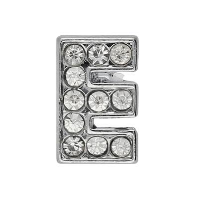 Slidercharm, Buchstabe E, 12x13x4, innen 8x2mm, silberfarben, Metall