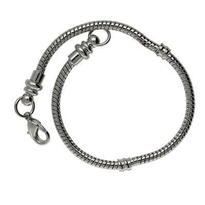 Armband für Charms mit Karabinerverschluss, Ø 3mm, Gesamtlänge ca. 18cm, Metall, platinfarben