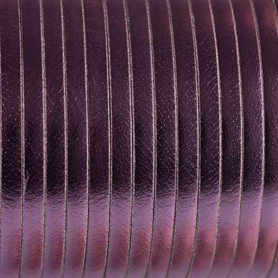 Flachriemen Rindsleder, 100cm, 5x2mm, METALLIC PINK