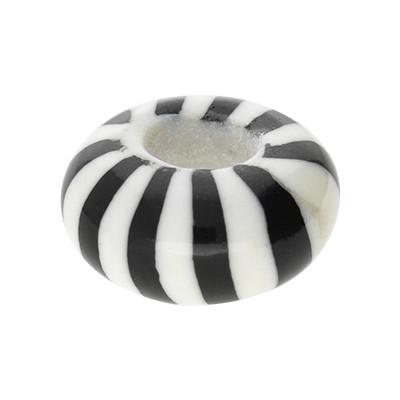 Großlochperle, innen 5mm, 15x8mm, Zebra schwarz-weiß, Acryl