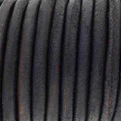 Rundriemen, Lederschnur, 100cm, 6mm, JEANSBLAU