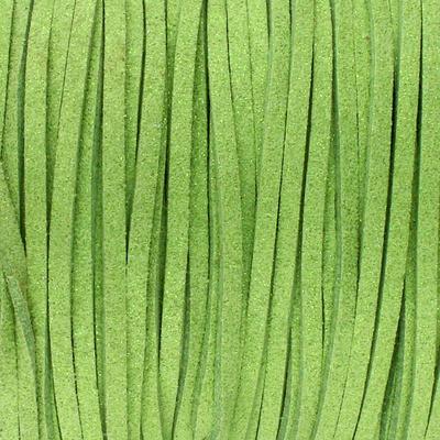 Textilband in Wildlederoptik (100cm), 3,0mm breit - GRASGRÜN METALLIC