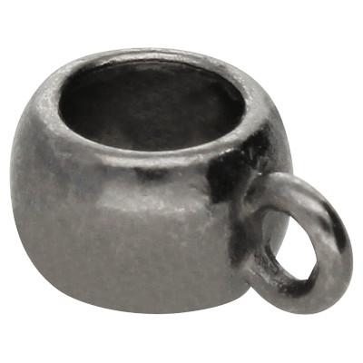 Großlochperle mit Öse, innen 5mm, 11x8mm, schwarz, Metall