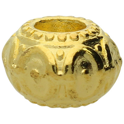 Großlochperle, innen 5mm, 10x6,5mm, goldfarben, Metall