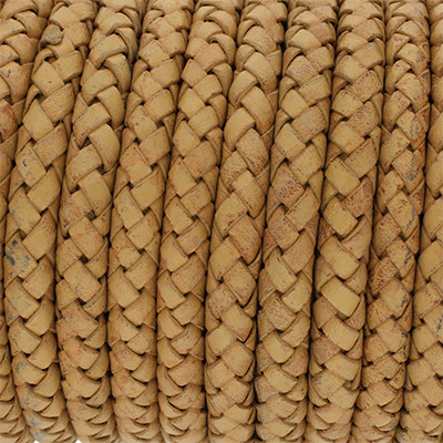 Lederband rund geflochten, 100cm, 8mm, KARAMELL