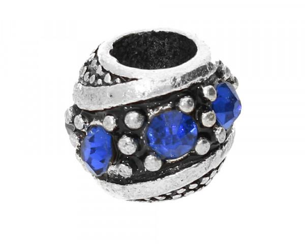 Großlochperle mit Straßsteinen, innen 5mm, 11x10mm, saphirblau, Metall