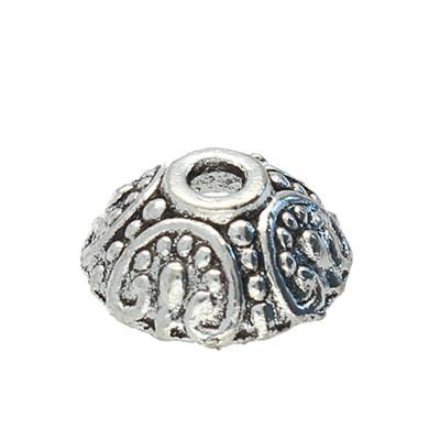 Perlenkappe (2 Stück), innen 1,5mm, 10x4mm, antik-silberfarben, Metall