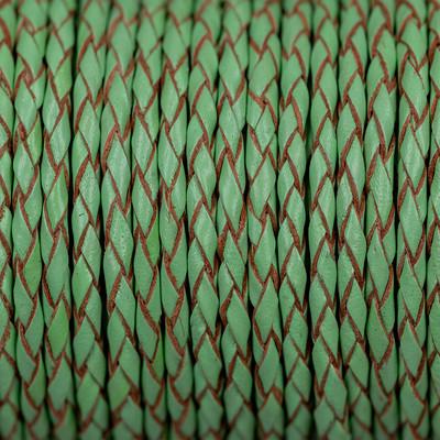 Lederband rund geflochten, 100cm, 3mm, MEERESGRÜN