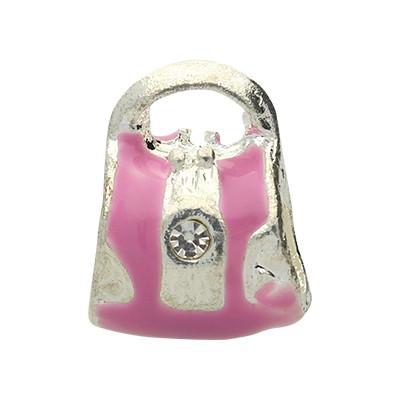 Grosslochperle mit Strasssteinen, Bag, innen 3x4,5mm, 14x11x8mm, pink, Emaille-Metall