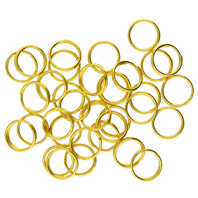 Spiralring, rund, 10 Stück, 7mm, innen 5,5mm, Metall, goldfarben