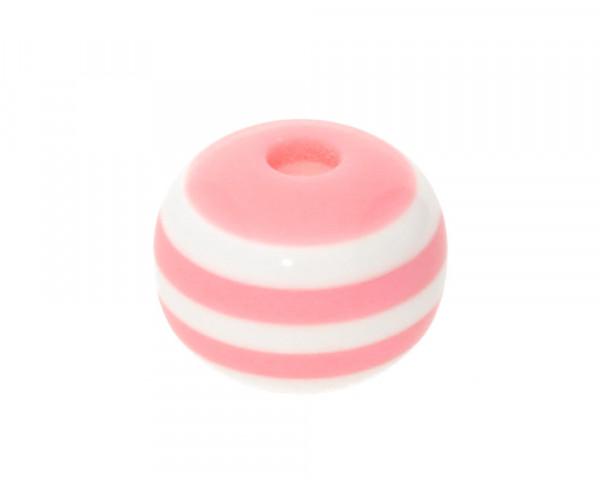 Perle,10x9mm, innen 1,8mm, rosa-weiss, Acryl