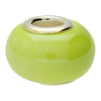 Großlochperle, innen 5mm, 15x12mm, limone, Porzellan