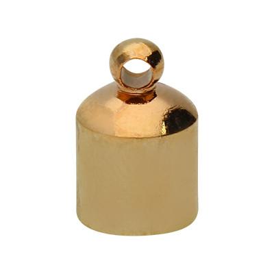 Endkappe mit Öse, 10x7mm, Loch-Ø 6,0mm, Metall, roségoldfarben