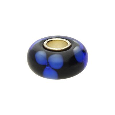 Großlochperle, innen 5mm, 14x8mm, blau, Murano Glas aus Italien, Kern versilbert