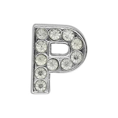 Slidercharm, Buchstabe P, 12x13x4, innen 8x2mm, silberfarben, Metall