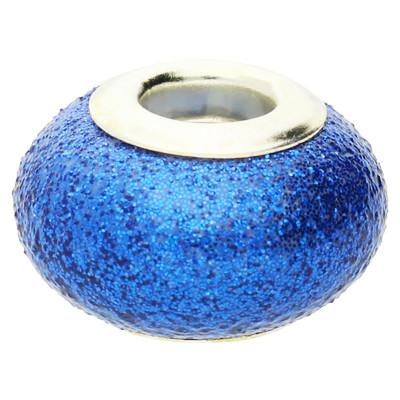 Großlochperle in Sternenstauboptik, innen 4,5mm, 14x9mm, blau, Metall