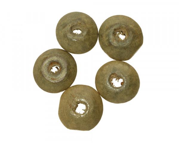 Perle (5 Stück), 14x5,5mm, innen 3,5mm, resedagrün, Holz