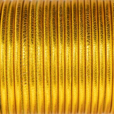 Nappaleder rund gesäumt, 100cm, 4mm, METALLIC GELBGOLD