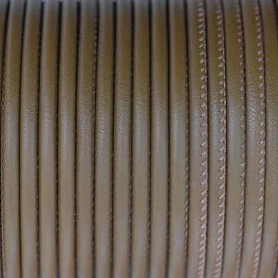 Premium Nappaleder rund gesäumt, 100cm, 4mm, KHAKIGRAU