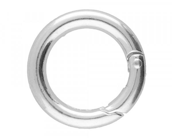 Ringverschluss, rund, 1 Stück, 24x4mm, Metall, silberfarben