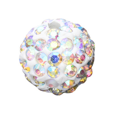 Straßperle, innen 1mm, Ø 12mm, kristall multicolor, Metall