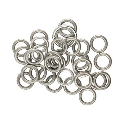 Ring, rund, 10 Stück, 6mm, innen 4mm, Metall, antik silberfarben