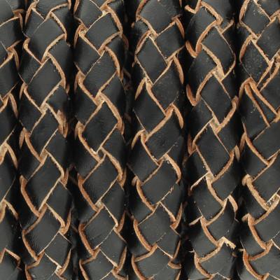 Lederband rund geflochten, 100cm, 6mm, SCHWARZ mit Naturkanten