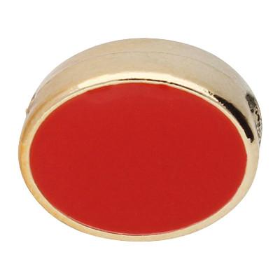 Großlochperle, oval, innen 5mm, 13x8mm, roségoldfarben-rot, Acryl