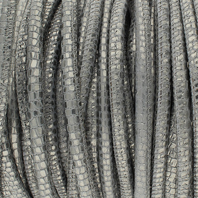 Premium Nappaleder rund gesäumt, 100cm, 4mm, METALLIC ANTHRAZIT Reptilprägung