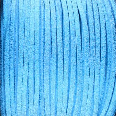 Textilband in Wildlederoptik (100cm), 3,0mm breit - HELLBLAU METALLIC