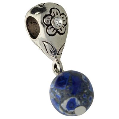 Charm mit Großlochperle, innen 5mm, 30x10mm, blau-silber, Metall