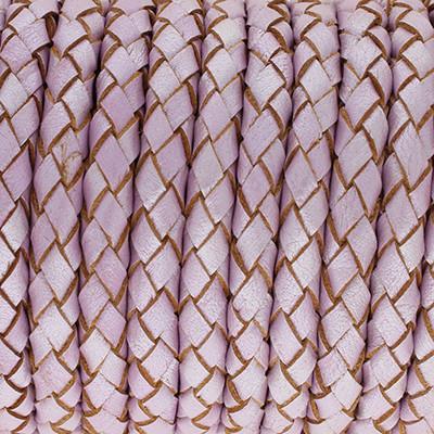 Lederband rund geflochten, 100cm, 6mm, PASTELLVIOLETT
