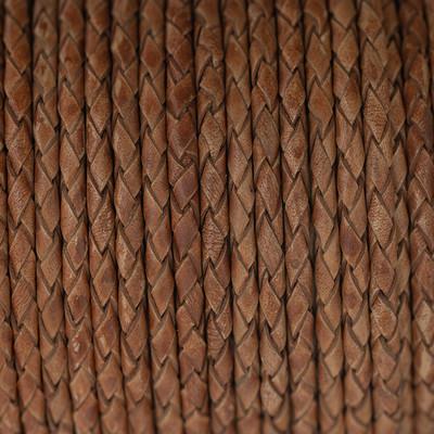 Lederband rund geflochten, 100cm, 3mm, ROTBRAUN meliert