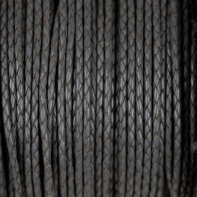 Premium Lederband rund geflochten, 100cm, 3mm, DUNKELGRAU