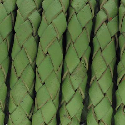 Lederband rund geflochten, 100cm, 5mm, GRASGRÜN mit Naturkanten