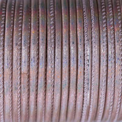 Premium Nappaleder rund gesäumt, 100cm, 4mm, Rosé Gold Reptilprägung