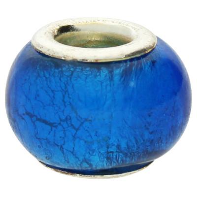 Großlochperle, innen 5mm, 14x9mm, starkwindblau, Glas